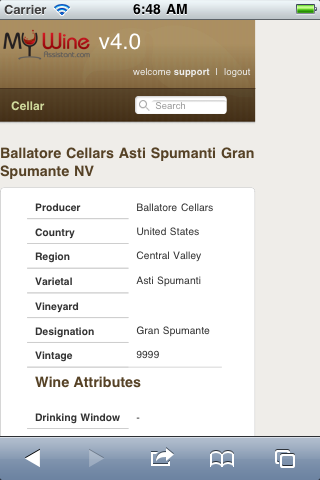 Wine information from iPhone